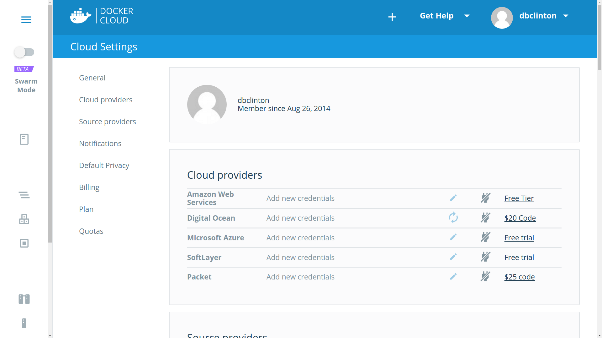 Docker Cloud settings